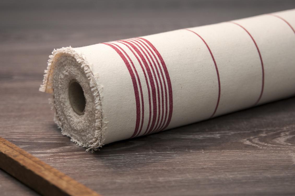 Tissu au m tre ray e rouges 100 naturel fabriqu es en france - Toile de coton synonyme ...