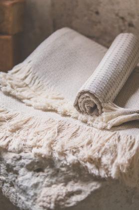 serviette nid abeille metis coton lin