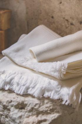 serviette nid abeille coton blanc