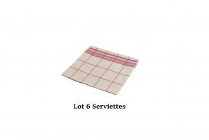 Lot 6 serviettes carreaux rouge