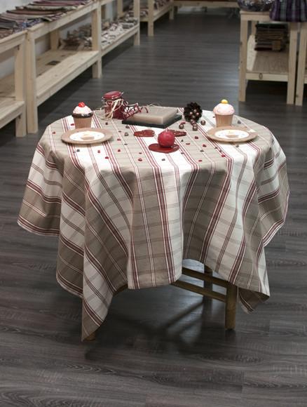 nappe coton carreaux tabac 100 naturel fabriqu e en france. Black Bedroom Furniture Sets. Home Design Ideas
