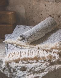 serviette nid abeille coton gris bleu