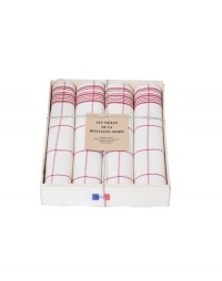 coffret 4 serviettes de table carreaux rouge