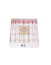 coffret 6 serviettes de table carreaux rouge