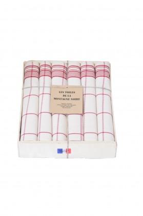 coffret 6 serviettes de table carreaux rouge