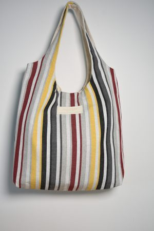 sac cabas toile ete raye couleur