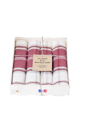 coffret 4 serviettes de table carreaux grenat