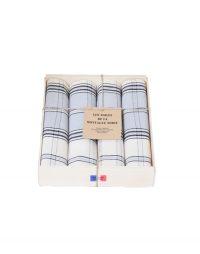 coffret 4 serviettes carreaux gris bleu