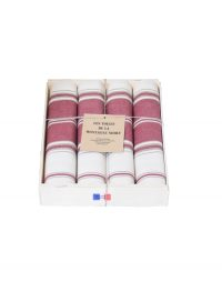 coffret 4 serviettes de table rayée grenat