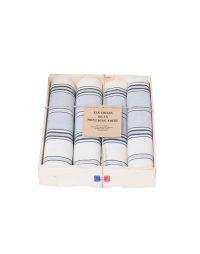 coffret-4-serviettes-rayee-gris-bleu