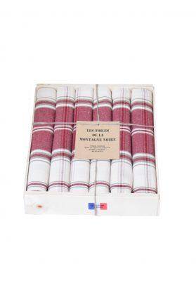 coffret 6 serviettes carreaux grenat