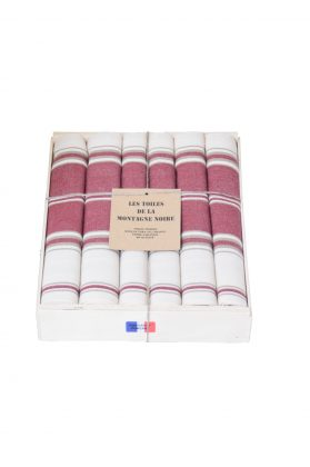coffret 6 serviettes de table rayée grenat