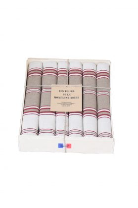coffret 6 serviettes de table rayée tabac