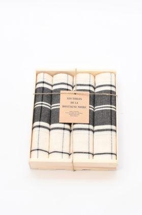 coffret-4-serviettes-de-table-carreaux-noir-blanc