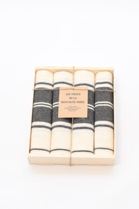 coffret-4-serviettes-de-table-raye-noir-blanc