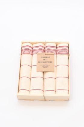 coffret-4-serviettes-de-table-raye-rouge