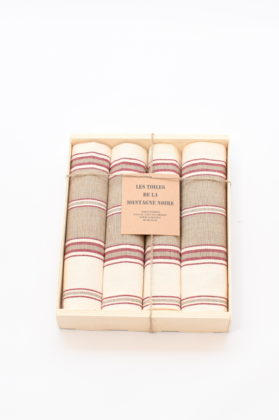 coffret-4-serviettes-de-table-raye-tabac
