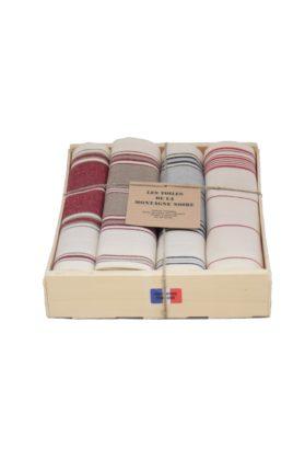 coffret 4 serviettes de table rayée grenat-tabac-gris-rouge