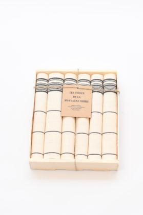 coffret-6-serviettes-de-table-raye-noir