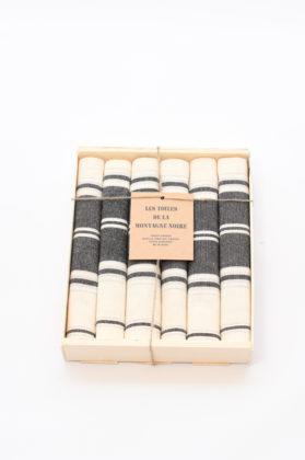 coffret-6-serviettes-de-table-raye-noir-blanc