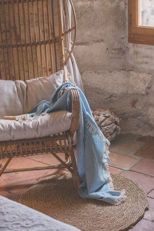 drap de bain nid abeille bleu