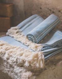 serviette nid abeille coton bleu