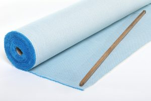 tissu jacquard médaillon bleu